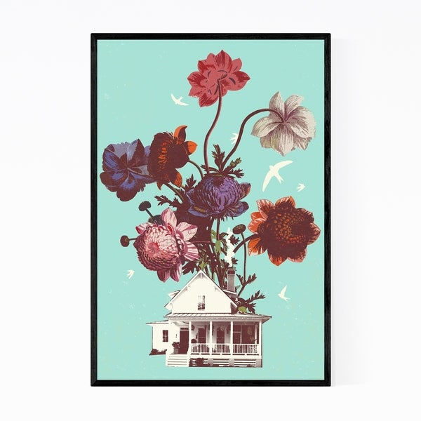 Noir Gallery Floral Botanical Abstract Collage Framed Art Print