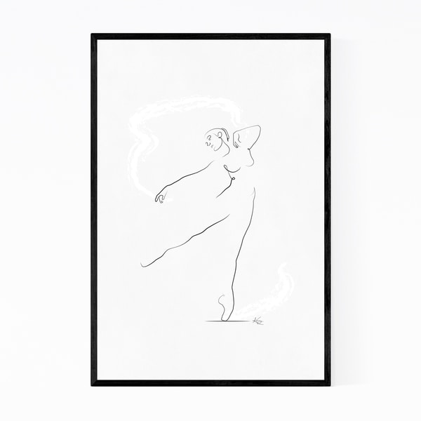 Noir Gallery Ballet Dancer Line Drawing Minimal Framed Art Print