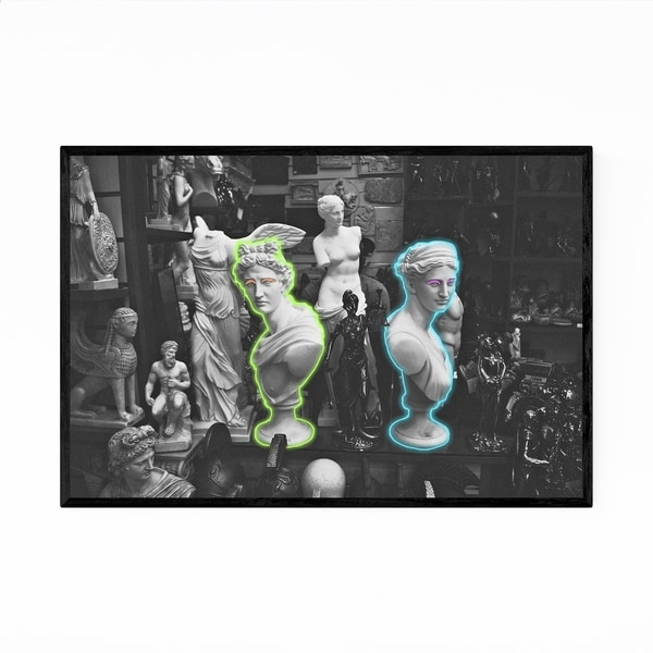 Noir Gallery Neon Greek Statue Digital Framed Art Print