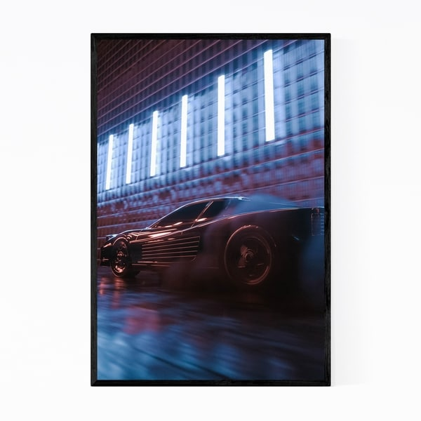 Noir Gallery Car Neon Urban City Lights Framed Art Print