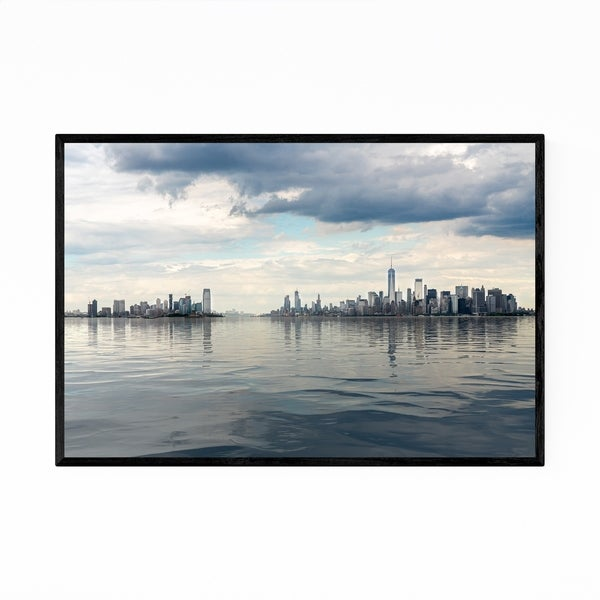 Noir Gallery Manhattan Jersey Skyline Panorama Framed Art Print