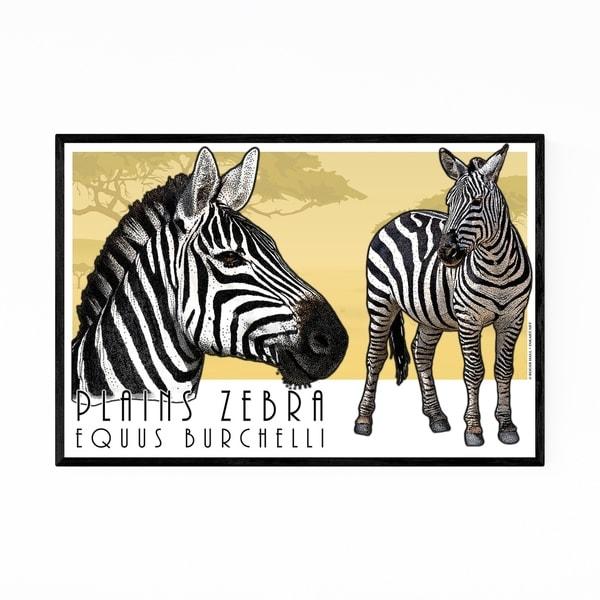 Noir Gallery Plains Zebra Animal Illustration Framed Art Print