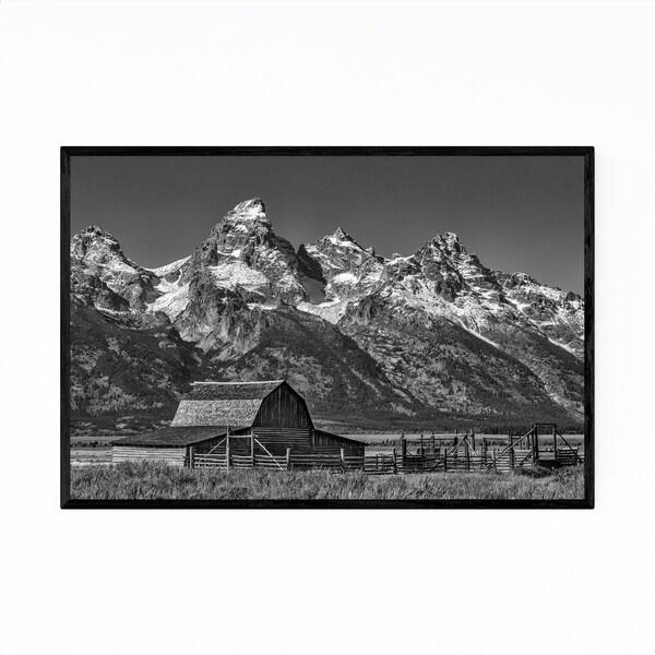 Noir Gallery Moulton Barns Teton Mountains Framed Art Print