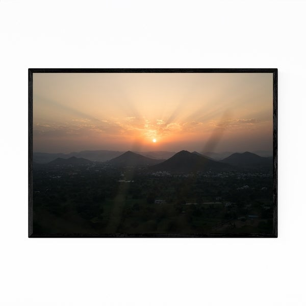 Noir Gallery Udaipur India Mountains Sunrise Framed Art Print