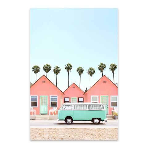 Noir Gallery Palm Trees VW Van Houses Coastal Metal Wall Art Print