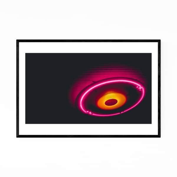 Noir Gallery Neon Lights Circle Abstract Framed Art Print