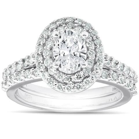 2Ct Oval Diamond Double Halo Engagement Wedding Ring Set 14k White Gold