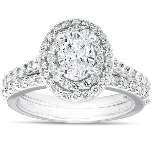 2Ct Oval Diamond Double Halo Engagement Wedding Ring Set 14k White Gold. Opens flyout.