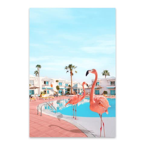 Noir Gallery Flamingo Palm Trees Humor Metal Wall Art Print