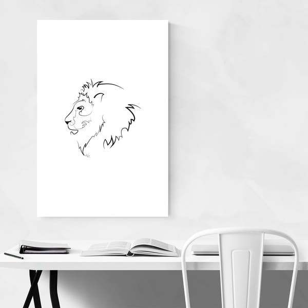 Noir Gallery Lion Minimal Animal Line Drawing Metal Wall Art Print Overstock 28912804 Animal outline drawings lion outline coloring online something. usd