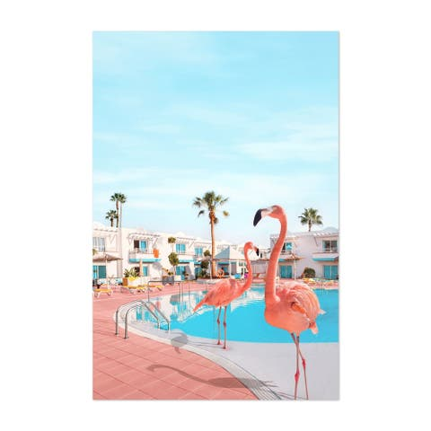 Noir Gallery Flamingo Palm Trees Humor Unframed Art Print/Poster