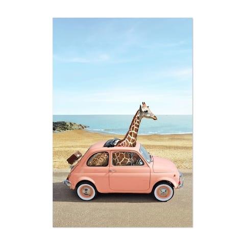Noir Gallery Giraffe Humor Car Fiate Beach Unframed Art Print/Poster