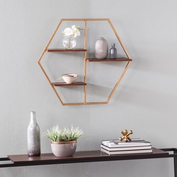 Carson Carrington Idris Midcentury Modern Brown Metal Wall Shelf