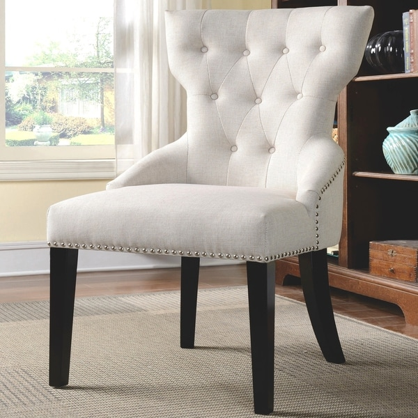 Decorative Button Tufted Living Room Cream Accent Chair with Nailhead Trim. Opens flyout.