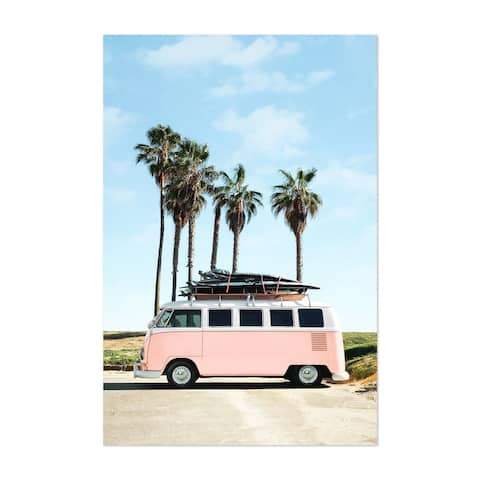 Noir Gallery VW Van Surfing Palm Trees Unframed Art Print/Poster