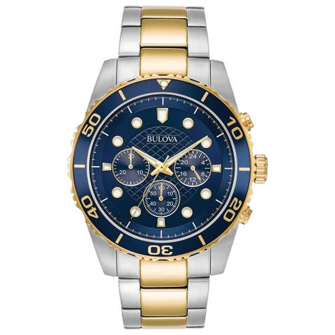 Bulova Men's 98A170 Two-Tone Stainless Chrono Blue Dial Bracelet Watch