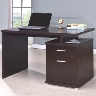 Modern Design Cappuccino Home Office Writing Computer Desk with File Cabinet Drawers