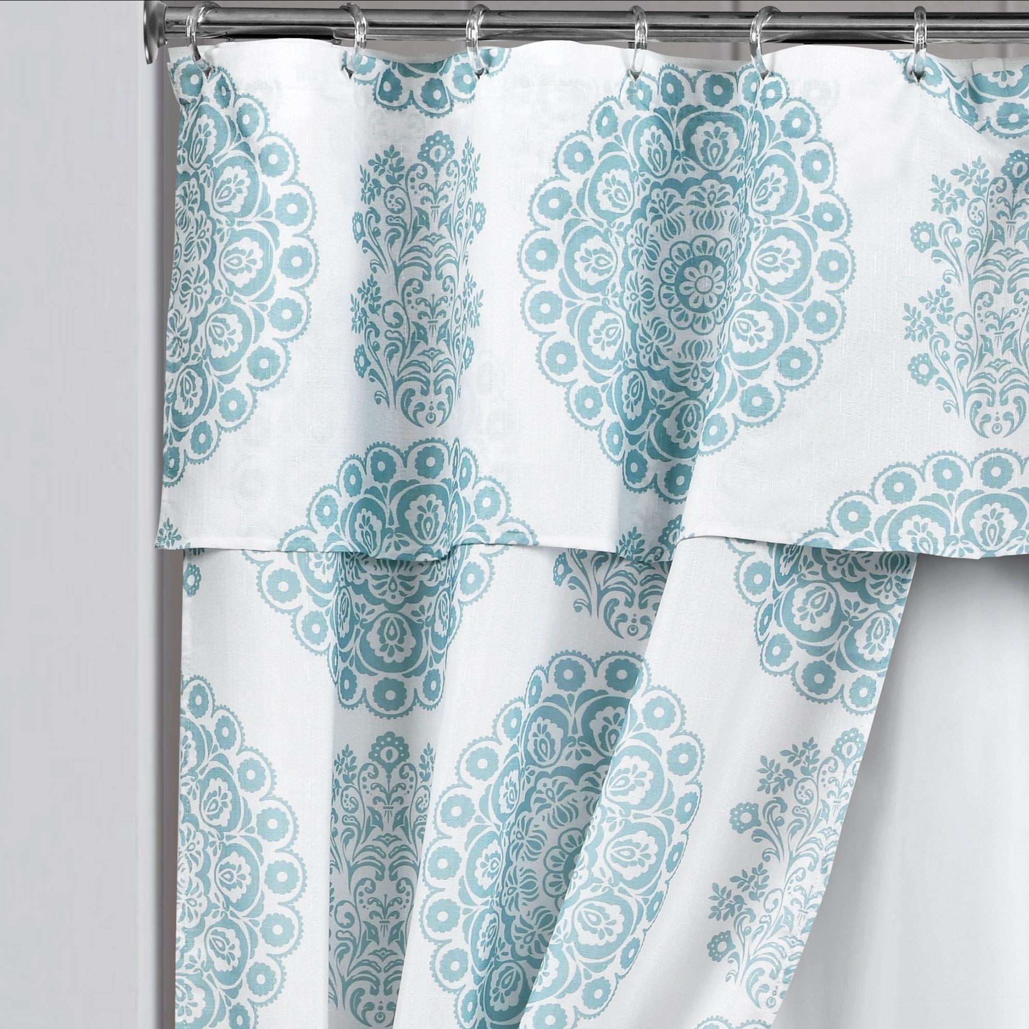 Lush Decor Evelyn Medallion 16 Piece Double Swag Shower Curtain Set