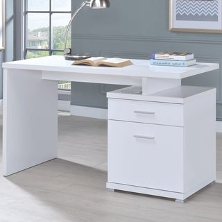 Modern Design White Home Office Writing Computer Desk with File Cabinet Drawers