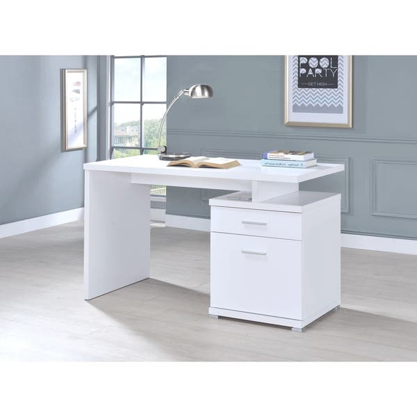 Shop Modern Design White Home Office Writing Computer Desk ... on white modern office design, white home office modular furniture, white home office cabinets, white small office design, white home office bookcase, white home office ideas, white home office built ins,
