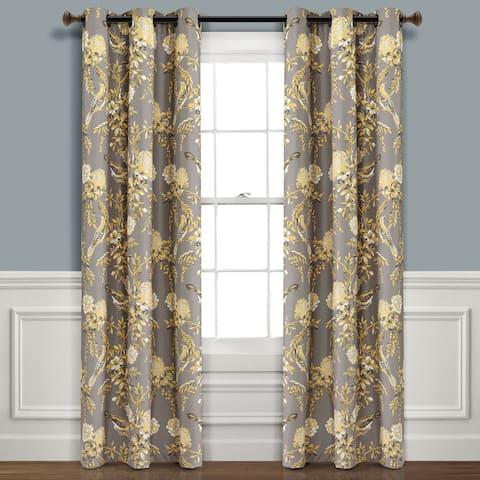 Lush Decor Farmhouse Bird And Flower Insulated Grommet Blackout Window Curtain Panel Pair