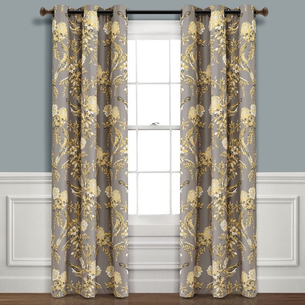 Lush Decor Farmhouse Bird And Flower Insulated Grommet Blackout Window Curtain Panel Pair. Opens flyout.
