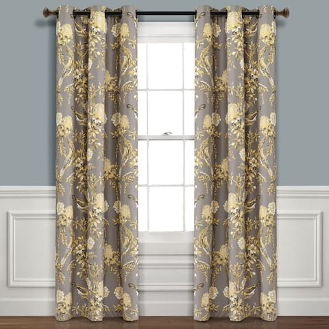 Lush Decor Farmhouse Bird And Flower Insulated Grommet Blackout Window Curtain Panel Pair