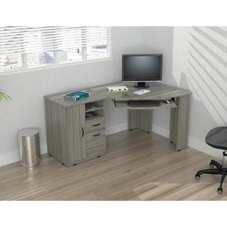 Inval Smoke Oak Corner Computer Desk