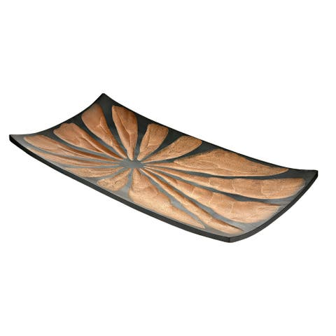 Handmade Stylish and Colorful Brown Two Tone Rectangular Shaped Serving Platter (Thailand)
