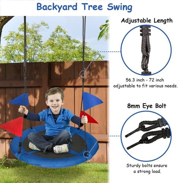 Round Platform Swing Seat 40 inches for Garden Backyard
