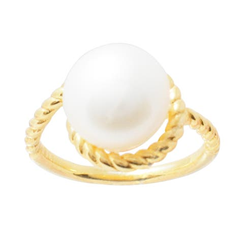 Gold Over Sterling Silver with Cultured Pearl Bypass Solitaire Ring - Yellow