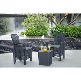 Outdoor 3-Piece Plastic Rattan Dining Set by Moda Furnishings