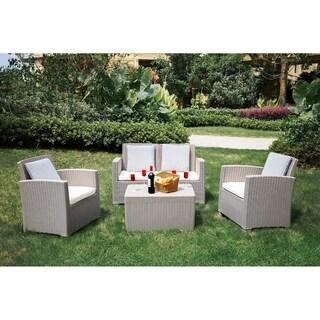 Moda Outdoor 4-Piece Plastic Rattan Wicker Sofa Sectional Sets