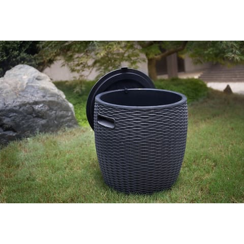 Outdoor Plastic Rattan Braided Shell Ice Bucket by Moda Furnishings
