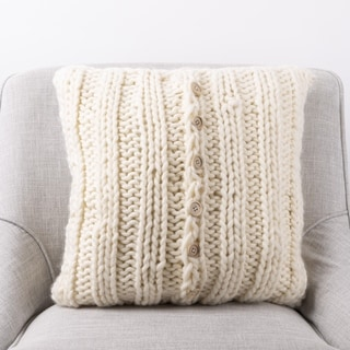 The Curated Nomad Division Handmade Acrylic Cable-knit Pillow Cover