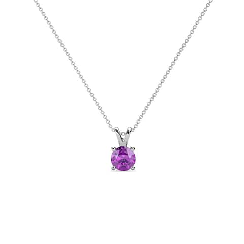 """TriJewels Amethyst Solitaire Necklace 0.36 ct 14KW Gold with 16"""" Chain"""