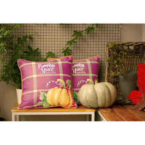 Fall Season Thanksgiving Pumpkin Pillowcase 18''x 18'' (2 pcs in set)