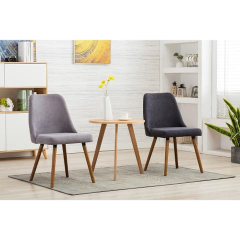 Porthos Home Taja Set of 2 Suede Fabric Dining Chairs, Beech Wood Legs