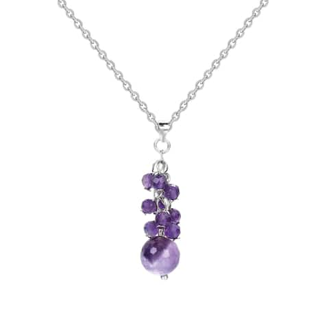 """Sterling Silver with Natural Choice Of Gemstone Necklace 18"""""""