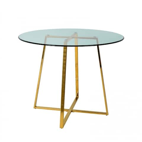 Modrest Swain Modern Glass & Gold Round Dining Table