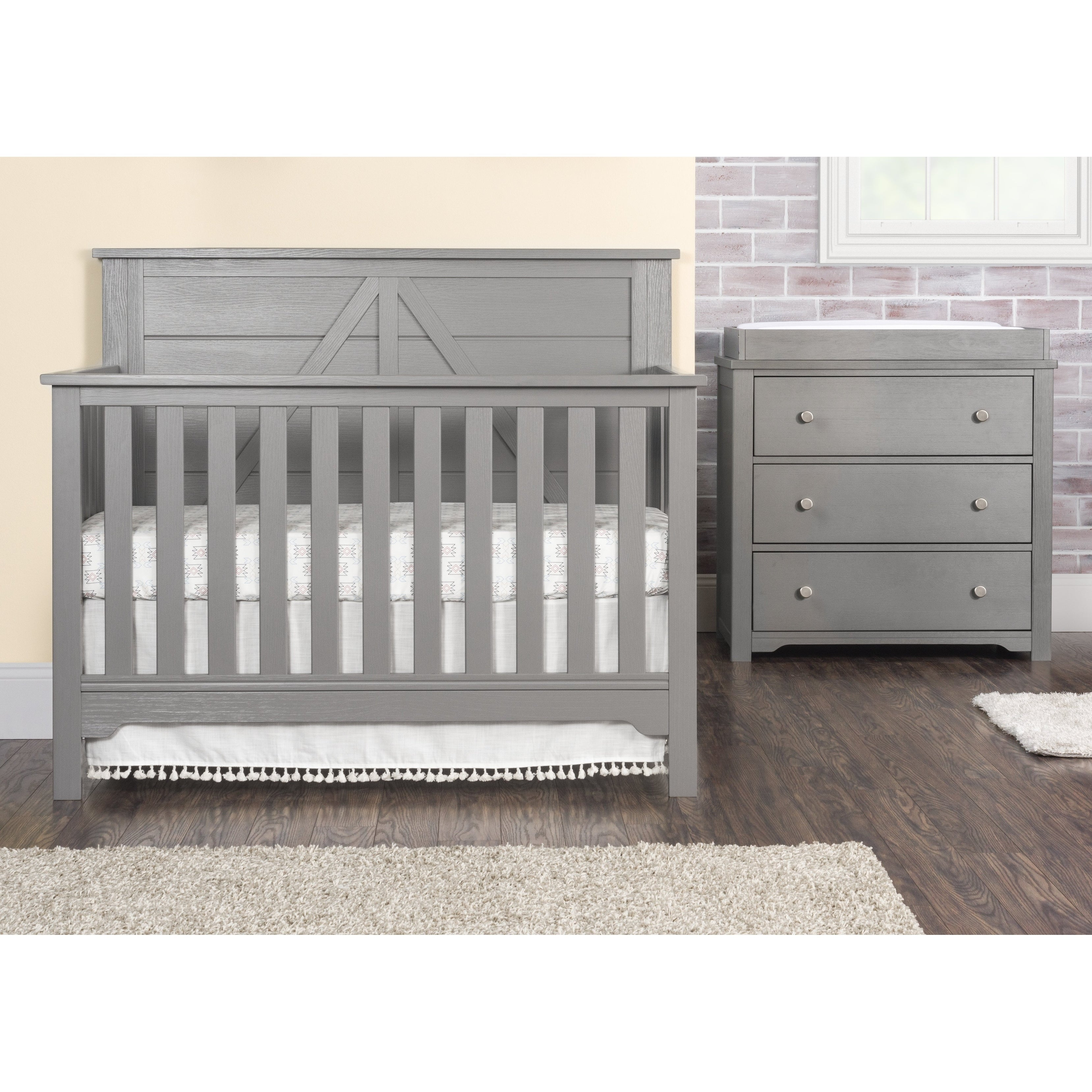 Forever Eclectic Harmony 3-Drawer Dresser with Changing Table Topper Brushed Pebble