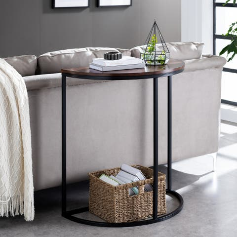 Strick & Bolton Nev Industrial Black Wood Console Table