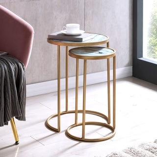 Silver Orchid Marley Contemporary Gold Glass Table (Set of 2)