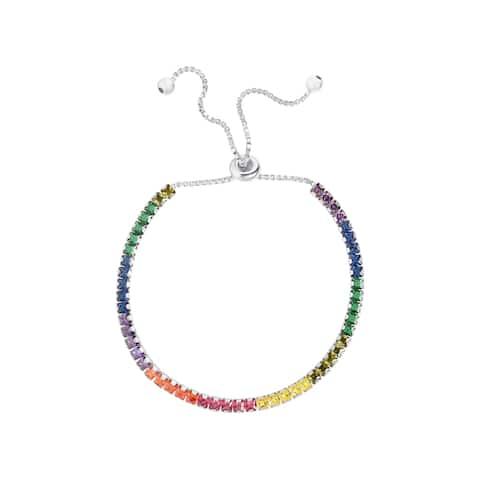 Sterling Silver Multi Colored Princess Cut Adjustable Bracelet