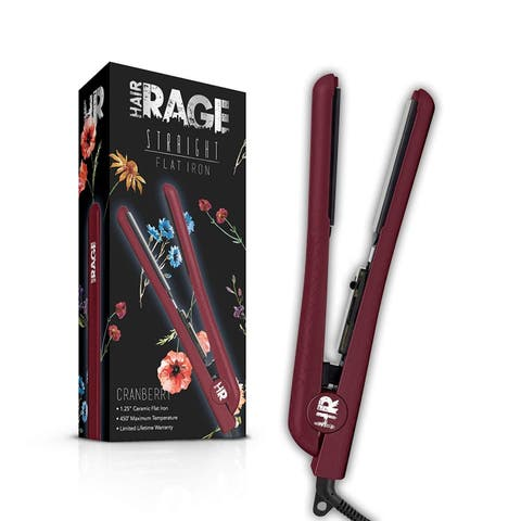 Hair Rage Limited Edition Fall Collection 1.25 Inch Professional Ceramic Tourmaline Flat Iron (Cranberry)
