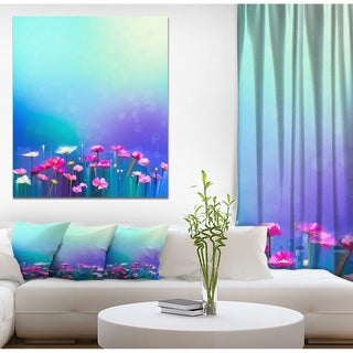 Link to Designart 'Abstract Pink Cosmos and Daisy Flower' Floral Painting Print on Wrapped Canvas in Blue - 30X40 (As Is Item) Similar Items in As Is