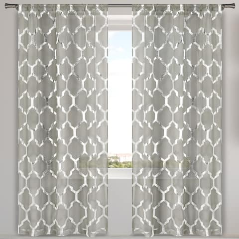 Bena Metallic Sheer Pole Top Window Curtain Panel Pair Set of Two