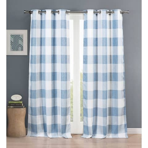 Aaron Plaid Grommet Window Curtain Panel Pair Set of Two