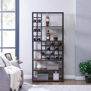 Harper Blvd Dewitt Industrial Dark Tobacco Wood Wine Storage