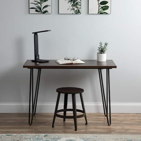 "Essentials Collection 44"" Home Retro Desk, Writing Desk with Hairpin Legs, in Gray/Wenge (ESS-1054-GRY-WEN)"